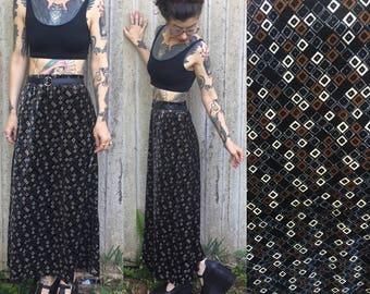 Vintage Mod Retro Geometric Print Velvet Maxi Skirt S small