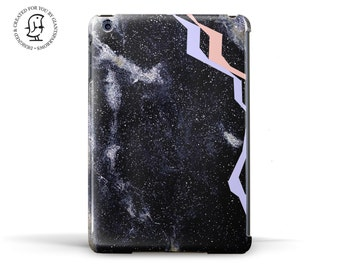 Black, Blue and Pink Marble design with Geometric details. Hard Case for iPad, iPad Mini and iPad Air