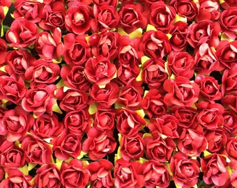 Set of 24 Red Mulberry Paper Roses
