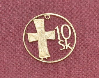 Bronze Cross.  Slovakia Bronze cut coin pendant necklace charm. All handmade coin jewelry by invicia