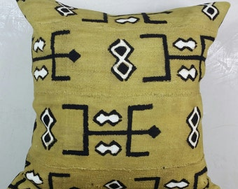 "African Mud Cloth ""Mustard"" Pillow Cover"