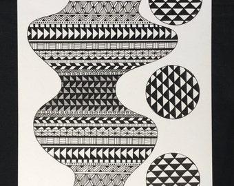 Voluptuous- Hand drawn, geometric shapes in black and white, geometric patterns, art, art print, illustration