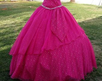 Vintage Fuchsia  Dress halter, late 90s XV Dress full skirt, beaded bodice hot pink dress, Prom halter dress,