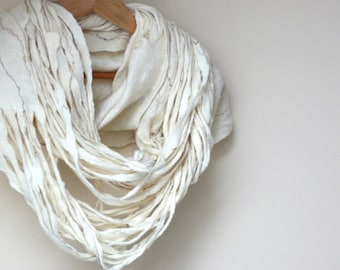 Women infinity white scarf - Mothers day gift - felted wool circle scarf - cobweb - made to order