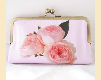 wedding clutch bag, handmade with pale pink roses sprig placement print and cream interior, wedding purse, optional personalisation