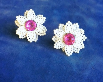 Free Shipping: Antique Celluloid and Pink Paste Floral Screw Back Earrings