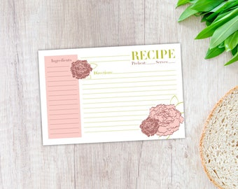 Peony Recipe Card, Printable Template, Instant Digital Download, 4x6