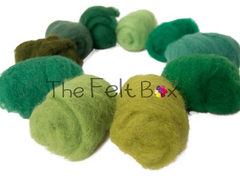 Green Needle felting wool, Embellishment Wool, Carded wool for felting, unspun fibre, wool batt, thefeltbox, 100g  3.5 ounces, single color