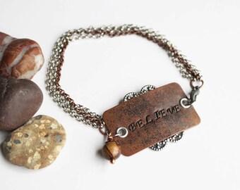 Believe Stamped Bracelet, Brown Bead Bracelet, Stamped Jewelry, Personalized Jewelry, Bohemian Bracelet, Mixed Metal Bracelet, Gemstone