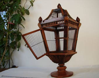antique French birdcage,handmade, carved wood & wire cage on pedestal base,with tin tray base,perch and door