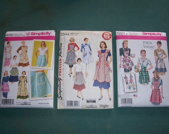 Simplicity 3544/1221/4282..Reproduction from Vintage 1940 & 1950's Apron Patterns..Mid Century Retro Apron Pattern..Farmhouse Kitchen Apron