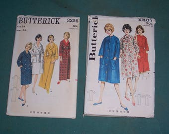 Vintage Misses Robe and House Coat Patterns..Uncut...Butterick 3256 or Butterick 2887...Mid Century Ladies Robe Patterns...