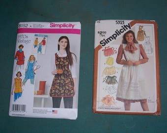 Simplicity 8152 or Simplicity 5323 Misses' Vintage 1970s Aprons Patterns..Retro Style Aprons and Smocks..Sizes XS-L...New and Uncut for 2016