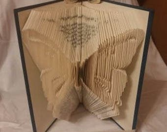 Folded Book Art, Butterfly, Origami, paper folding, paper folded flower, custom word name picture date