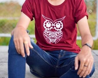 T-shirt, Striped owl