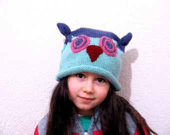 Owl hat and gloves set - child's owl hats - owl gloves
