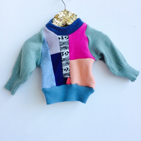 FOLD Baby 0-3 Months Jumper Sweater Patchwork Top Double Layer in Cashmere Handmade Upcycled Unisex