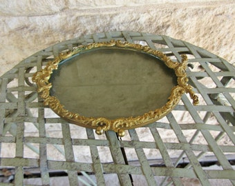 Antique Vanity Tray Gold Vanity Plate Perfume tray Ornate Hollywood Regency Small Tray Decorative Plate Vintage bathroom