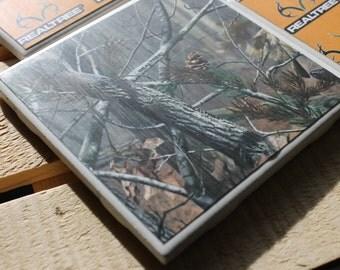 Camo Four Piece Ceramic Tile Coaster Set