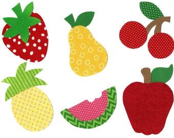 Iron on fabric strawberry, apple, pear, pineapple, watermelon and cherries applique DIY