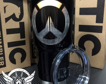 Custom Painted RTIC 30oz Tumbler with Over Watch Graphics in glossfinish from Creepy Goat Graphics