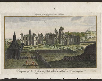 Glastonbury Abbey Engraving, Date circa 1773 From The Complete English Traveller, Showing Glastonbury Tor, Hand Coloured Engraving.