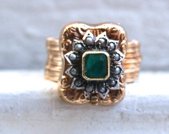 Vintage 18K Yellow Gold Emerald and Pearl Ring/ Bracelet.