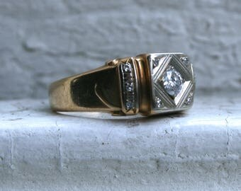 Retro Vintage 14K Yellow Gold Wide Diamond Ring Wedding Band - 0.43ct.