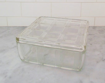 Vintage refrigerator dish, 1930's clear glass food container