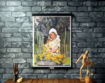 Flower Girl Book Illustration Chart /Vintage Chart Pull Down Reproduction /Canvas Fabric or Paper Print /Oak Wood Hanger with Brass Hardware
