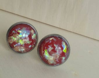 Red Gold Flaked Studs. Gold Leaf Flake and Opal Flake Earrings. 12 mm. Everyday Earring. Gift for Her. Bridesmaid Earrings.