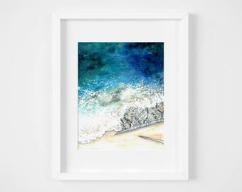 knitted frothy lace watercolor illustration art print | gifts for knitters, mermaid, craft, yarn, magic, ocean, decoration