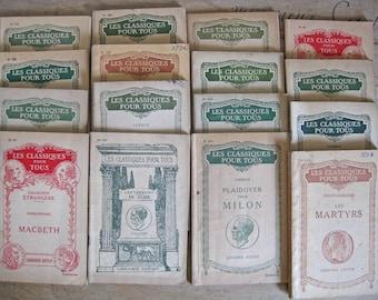 classic French books - FREE SHIPPING - decorative vintage softback books Classiques pour tous
