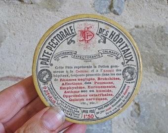 "French medicine box - vintage round cardboard box for ""pate pectorale"""