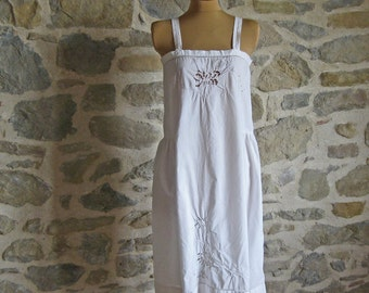 1920s white cotton chemise - size M - hand made flapper era petticoat with cutwork embroidery