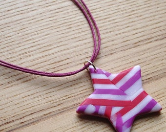 Polymer Clay Pendant, Pattern Star Pendant, Beach Jewellery, Scuba, Handmade Necklace, 16th Birthday Gift, Gift for Daughter, FIMO Pendant