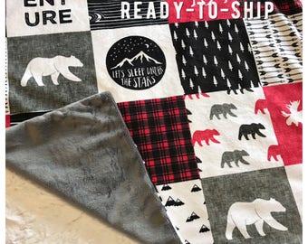 Buffalo Plaid Minky Baby Blanket, Camping Bear Quilt, Woodland Deer Moose Baby Blanket, Personalized Baby Boy Blanket, Bear Baby Blanket