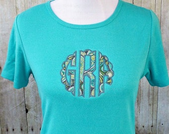 Womens monogrammed shirt, scallop monogram, gray teal green fabric monogram, embroidered monogrammed shirt for ladies