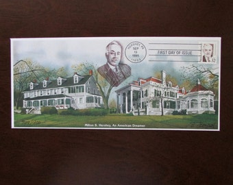 Milton S. Hershey First Day of Issue Stamp 1995 Signed & Numbered Hershey's Chocolate