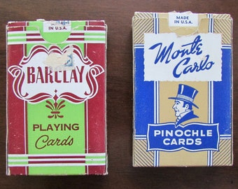 Vintage Playing Cards 2 Decks Monte Carlo Pinochle & Barclay Playing Cards by ARRCO, Chicago