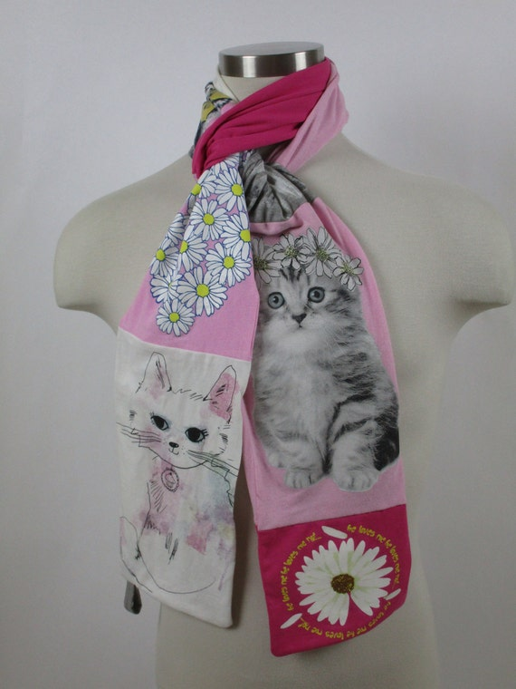 Upcycled T-Shirt Scarf:  Cat Lover