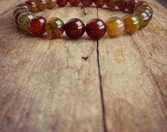 Mala Stretch Bracelet • Dargons Vein Agate • Stacking Bracelet • Unisex Bracelet • Yoga • Mala