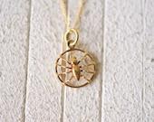 1970's vintage 14k gold spider charm necklace / minimalist tiny charm necklace