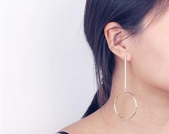 ON SALE Gold long bar dangle circle earrings