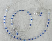 Reserved for Melia custom bridal jewelry set with blue Swarovski crystals, and silver tone accents, free shipping, handmade in Montana