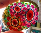 bohemian garden / painted rocks / painted stones / rock art / boho art / hippie art / paperweights / coffee table decor / nd held art