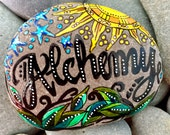 alchemy / painted rocks / painted stones / altar art / paperweights / boho art / hippi art / rock art / words on stones / art stones / rocks