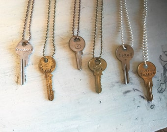 Stamped Key Necklace. SALE. Personalized. Re-purposed keys. Vintage Keys. Vintage Necklace. Engraved Key. Hand Stamped.