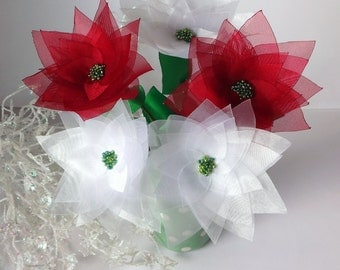 3 Christmas Snow White or Red Organza Fabric Poinsettia on Stems, Bouquet, Silk Floral Decor
