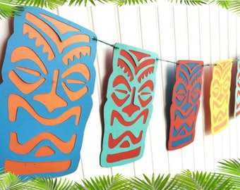 Hawaiian Tiki Head Luau Party Banner